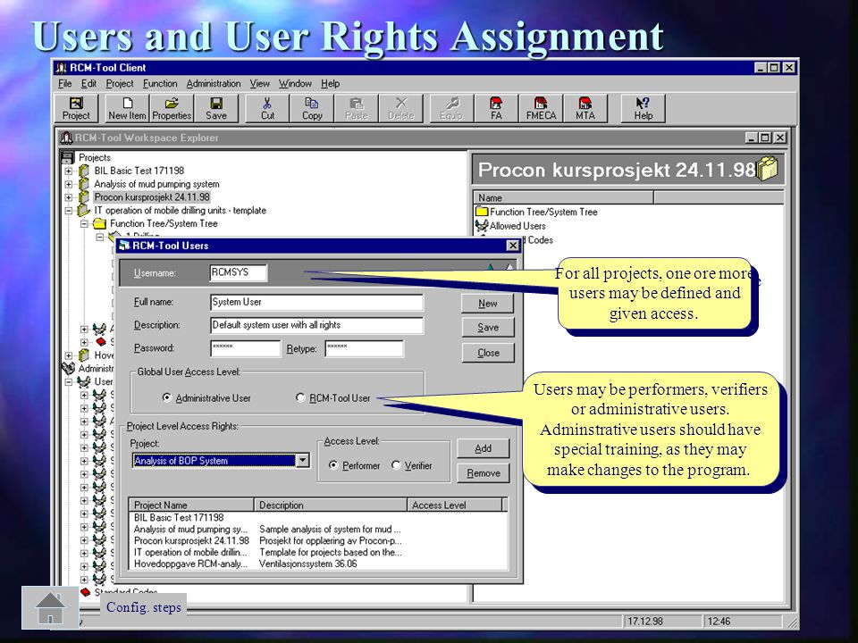Users and User Rights Assignment