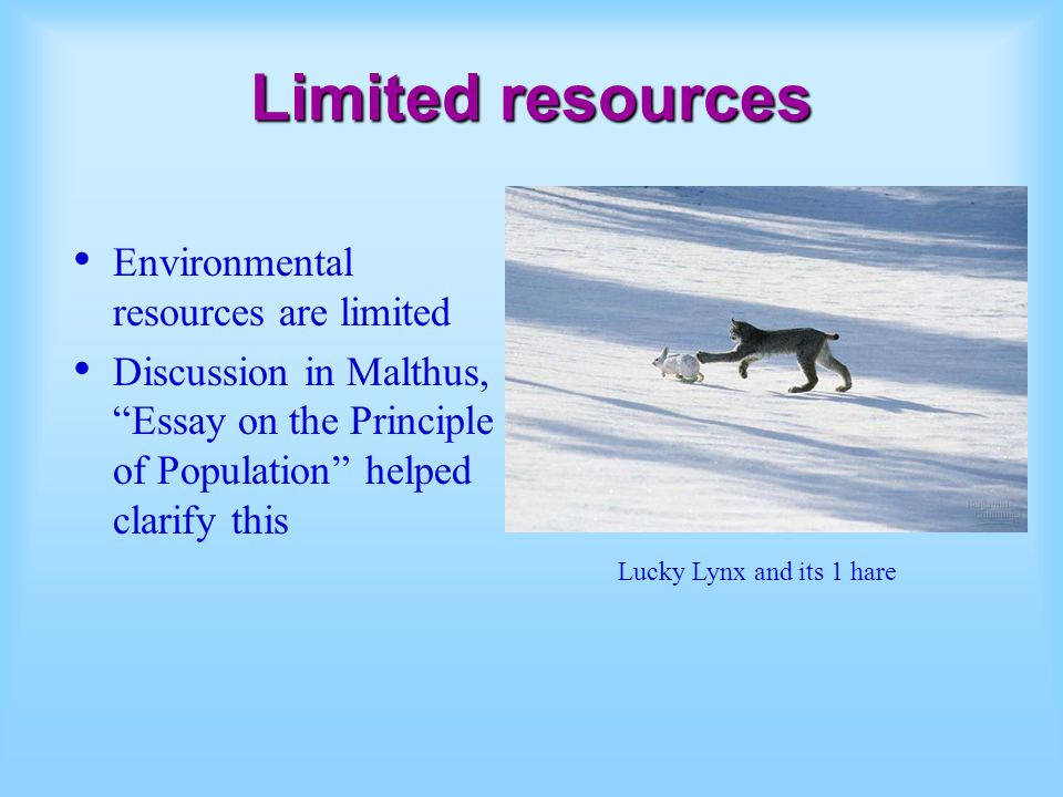 Limited resources Environmental resources are limited