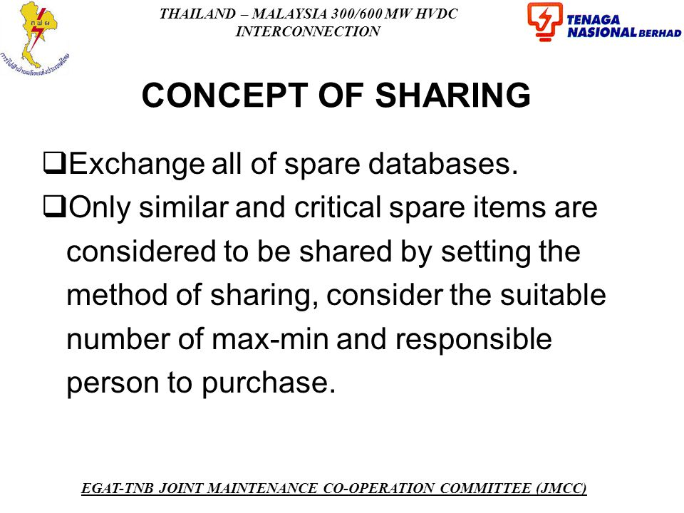 CONCEPT OF SHARING Exchange all of spare databases.