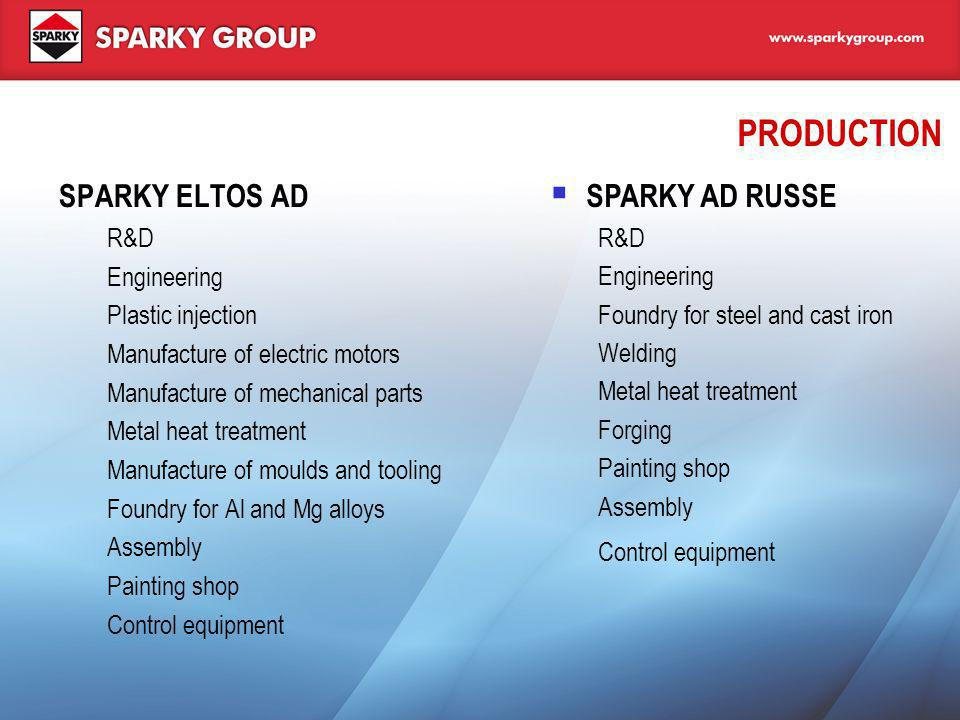 PRODUCTION SPARKY ELTOS AD SPARKY AD RUSSE R&D Engineering
