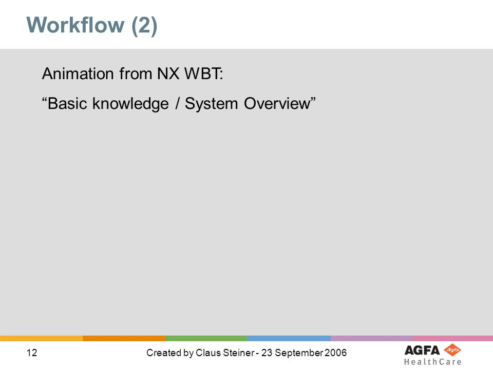 Workflow (2) Animation from NX WBT: