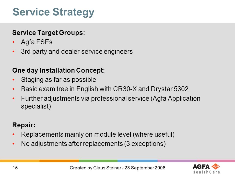 Service Strategy Service Target Groups: Agfa FSEs