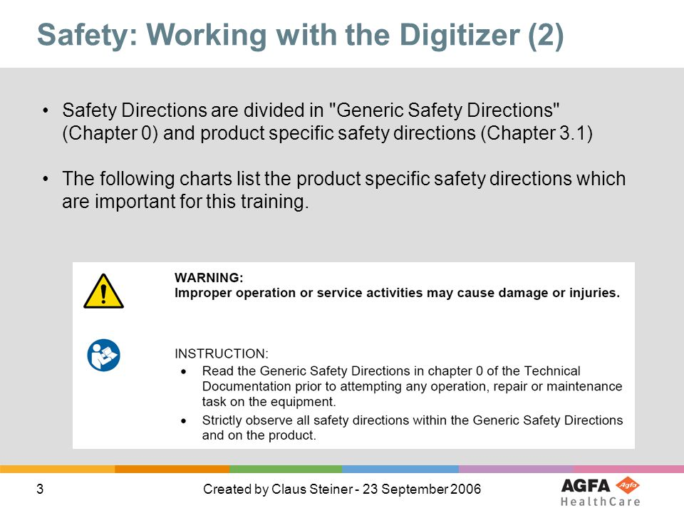 Safety: Working with the Digitizer (2)