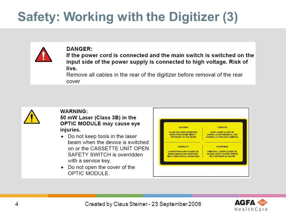 Safety: Working with the Digitizer (3)