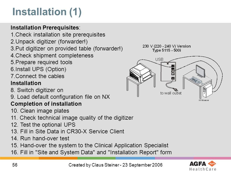 Installation (1) Installation Prerequisites: