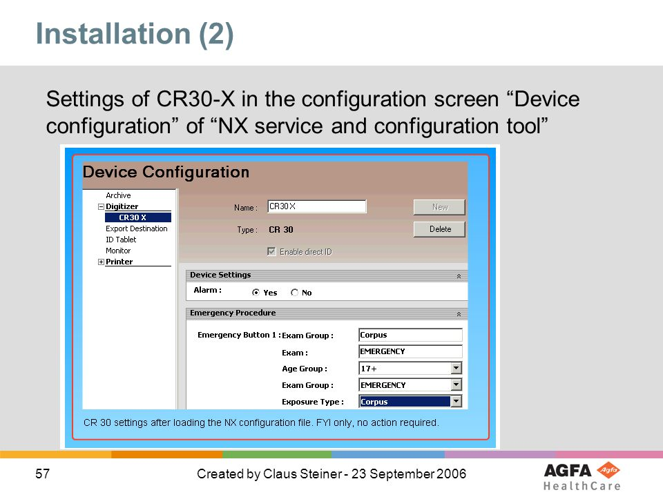 Installation (2) Settings of CR30-X in the configuration screen Device configuration of NX service and configuration tool