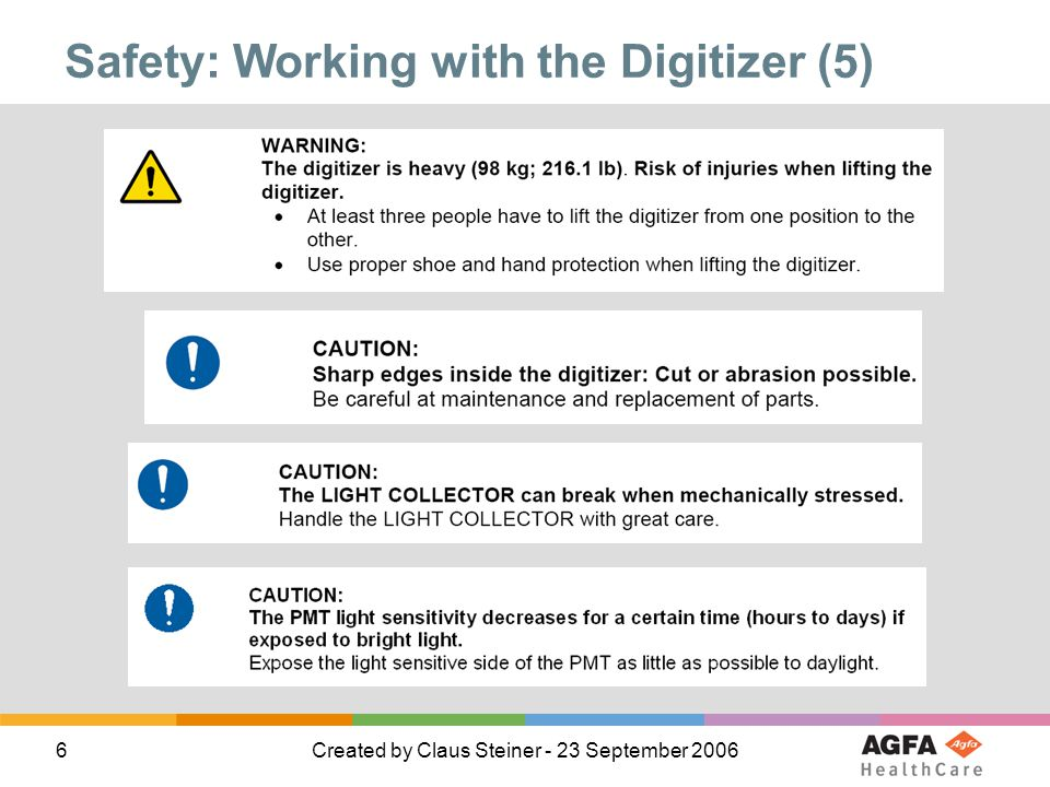 Safety: Working with the Digitizer (5)