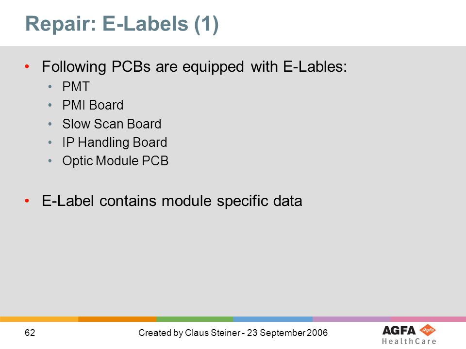 Repair: E-Labels (1) Following PCBs are equipped with E-Lables:
