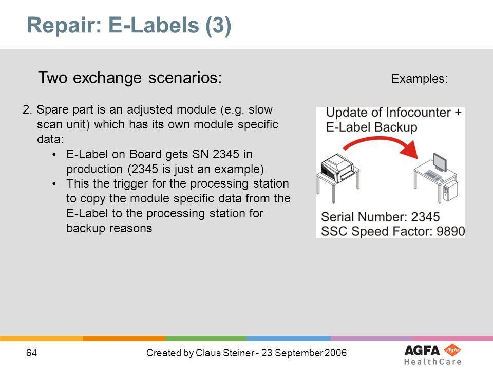 Repair: E-Labels (3) Two exchange scenarios: Examples: