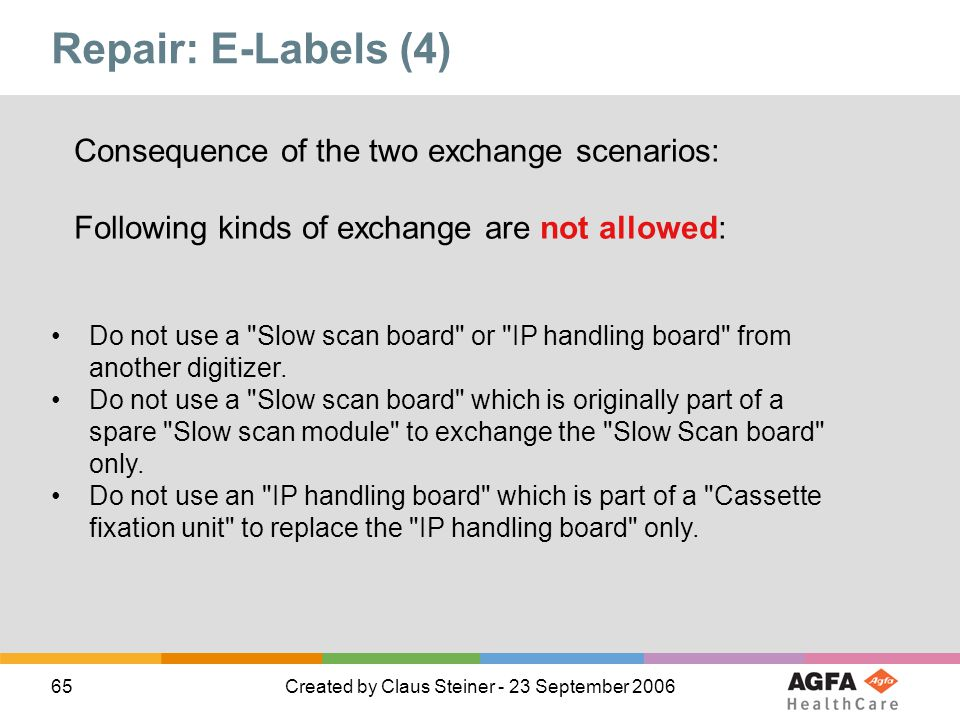 Repair: E-Labels (4) Consequence of the two exchange scenarios: