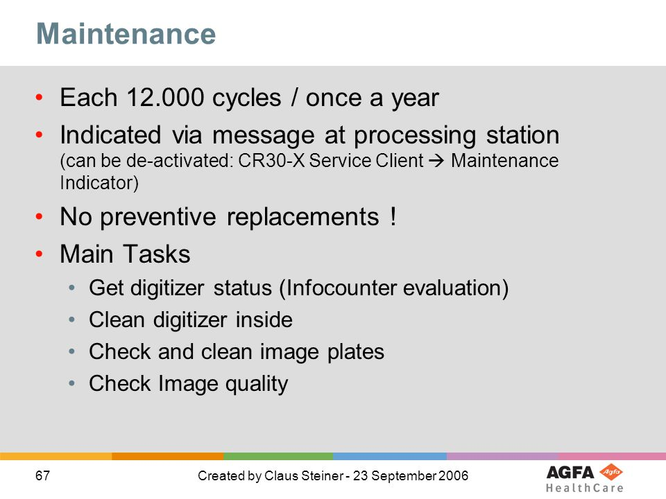 Maintenance Each 12.000 cycles / once a year