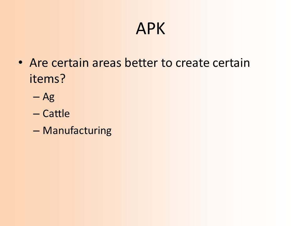 APK Are certain areas better to create certain items Ag Cattle