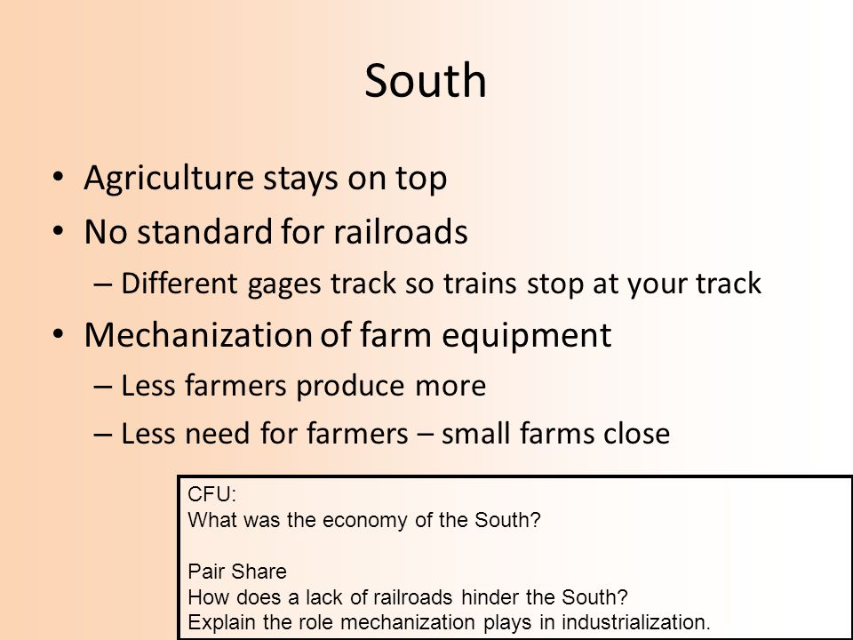South Agriculture stays on top No standard for railroads