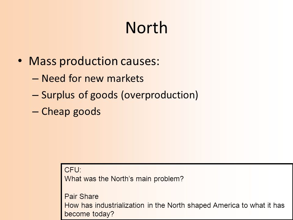 North Mass production causes: Need for new markets