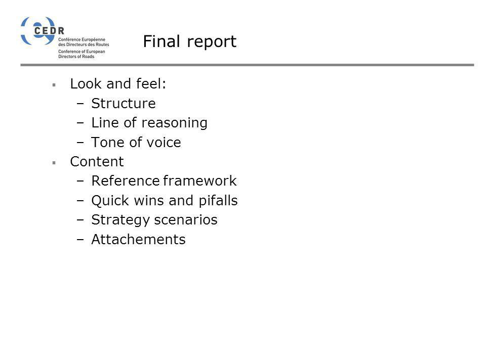 Final report Look and feel: Structure Line of reasoning Tone of voice