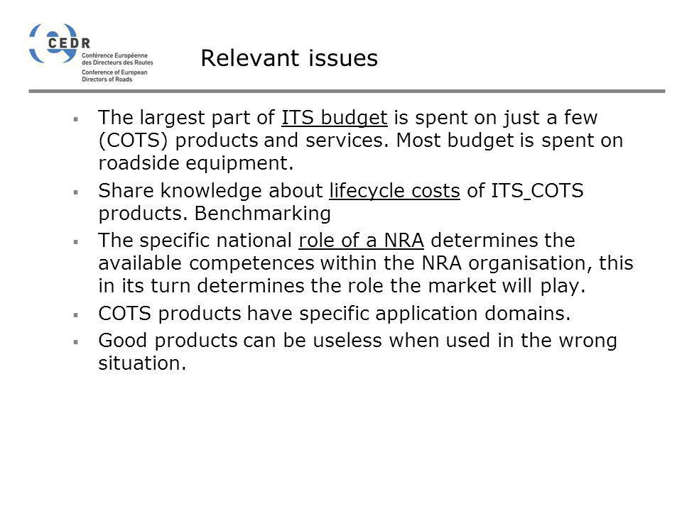 Relevant issues The largest part of ITS budget is spent on just a few (COTS) products and services. Most budget is spent on roadside equipment.