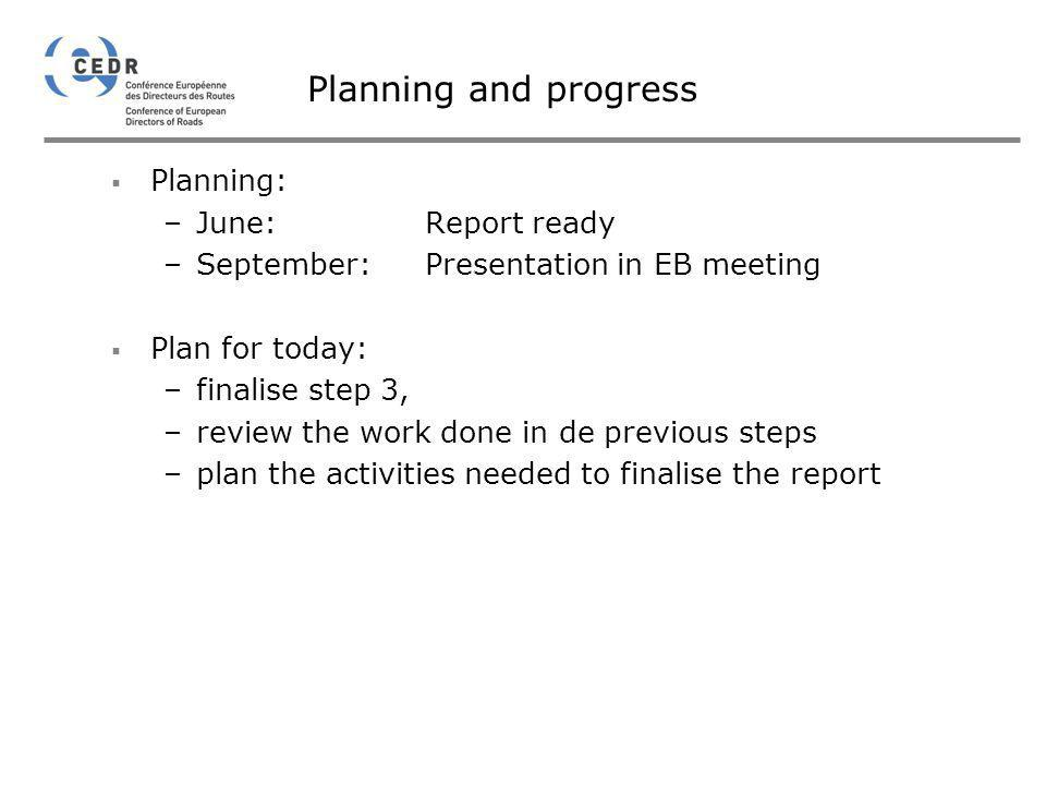 Planning and progress Planning: June: Report ready