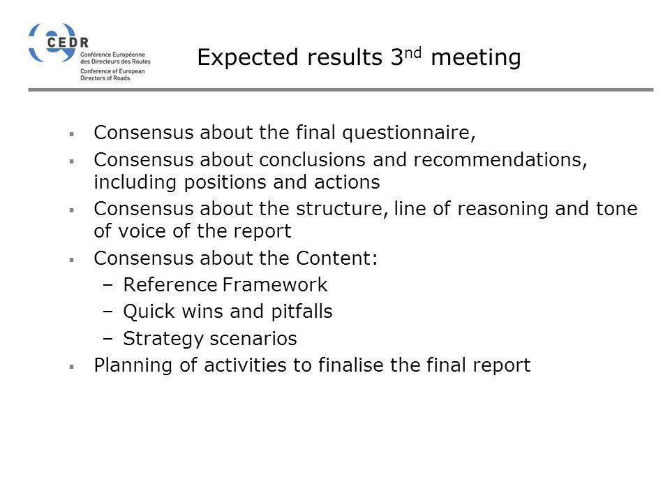 Expected results 3nd meeting