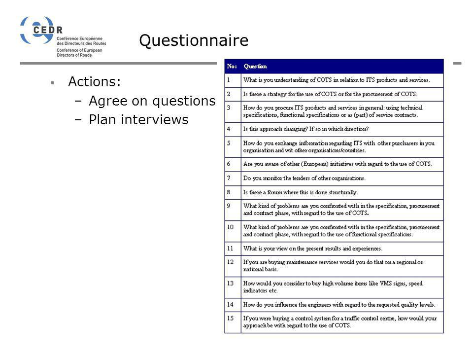 Questionnaire Actions: Agree on questions Plan interviews