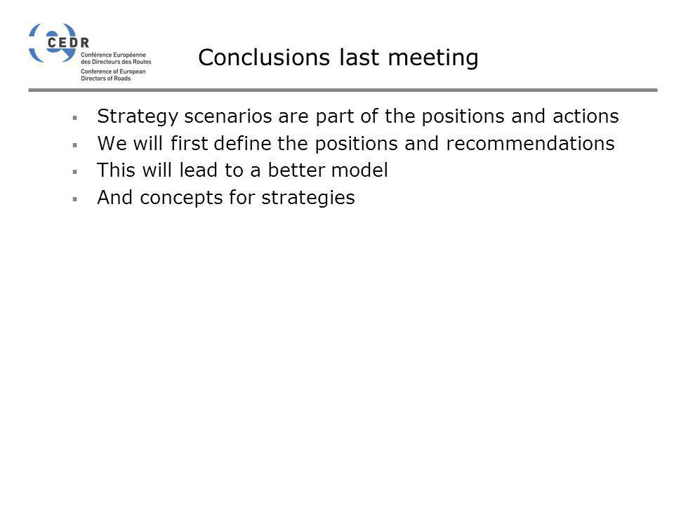 Conclusions last meeting