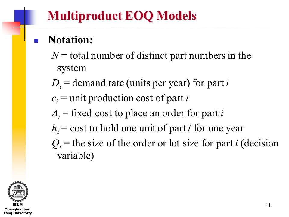 Multiproduct EOQ Models