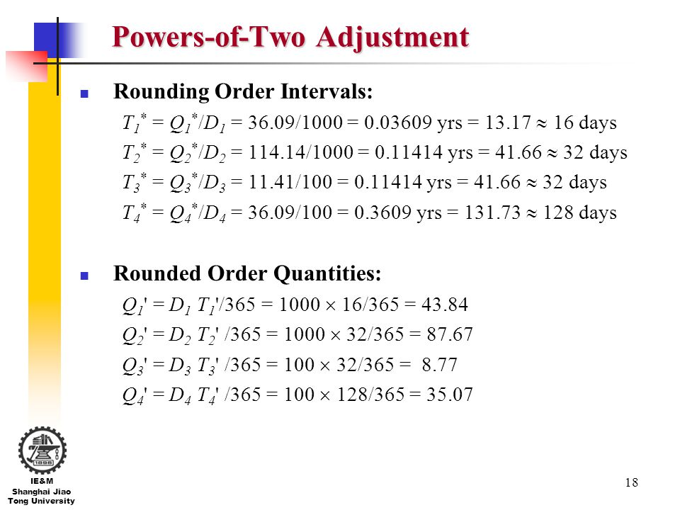 Powers-of-Two Adjustment
