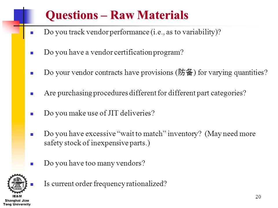 Questions – Raw Materials