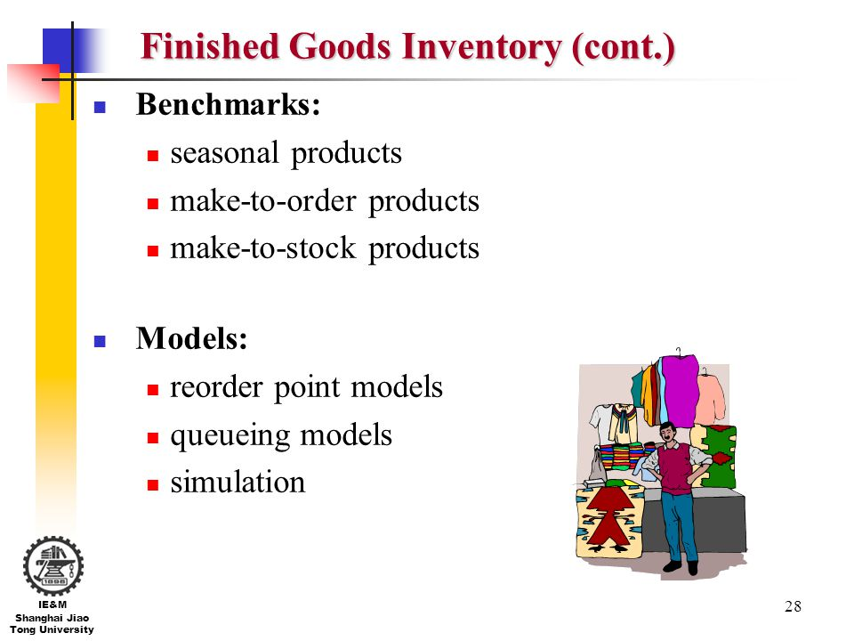 Finished Goods Inventory (cont.)