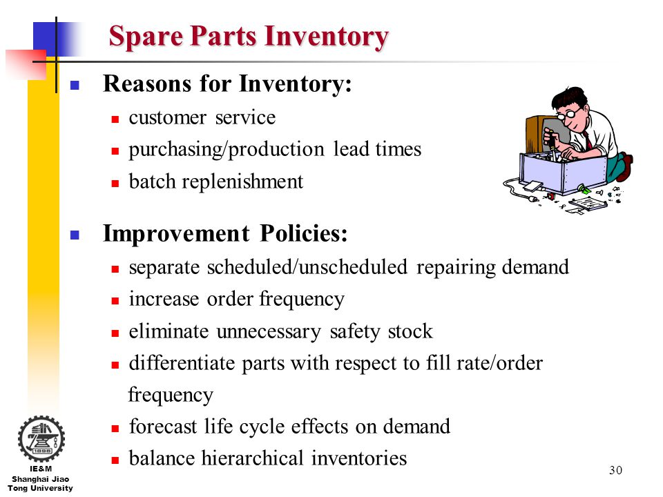 Spare Parts Inventory Reasons for Inventory: Improvement Policies: