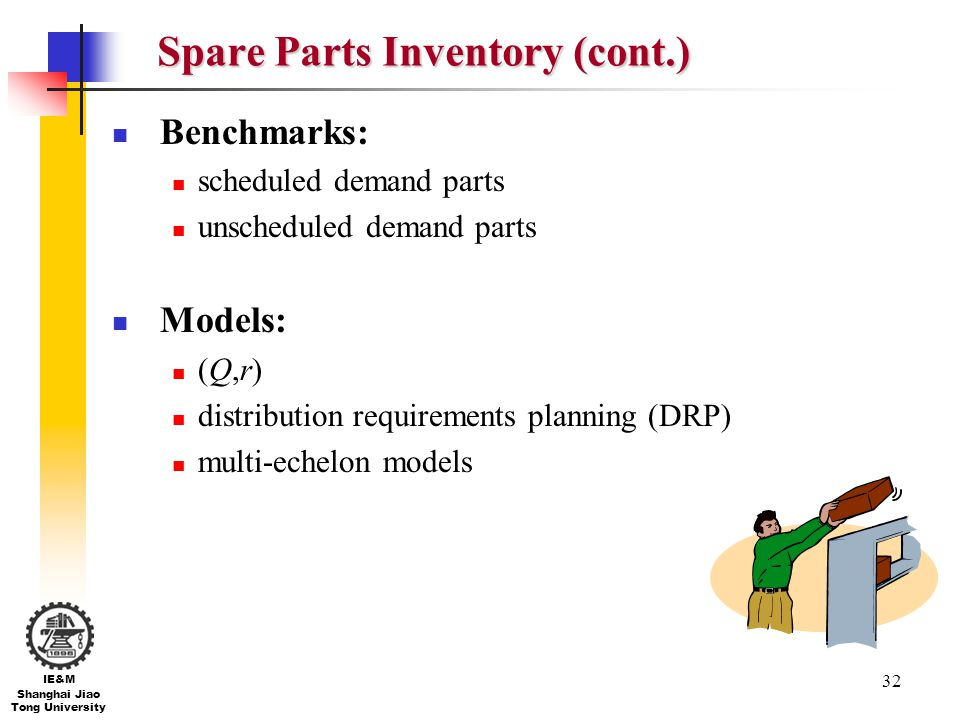 Spare Parts Inventory (cont.)