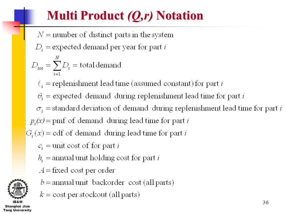 Multi Product (Q,r) Notation