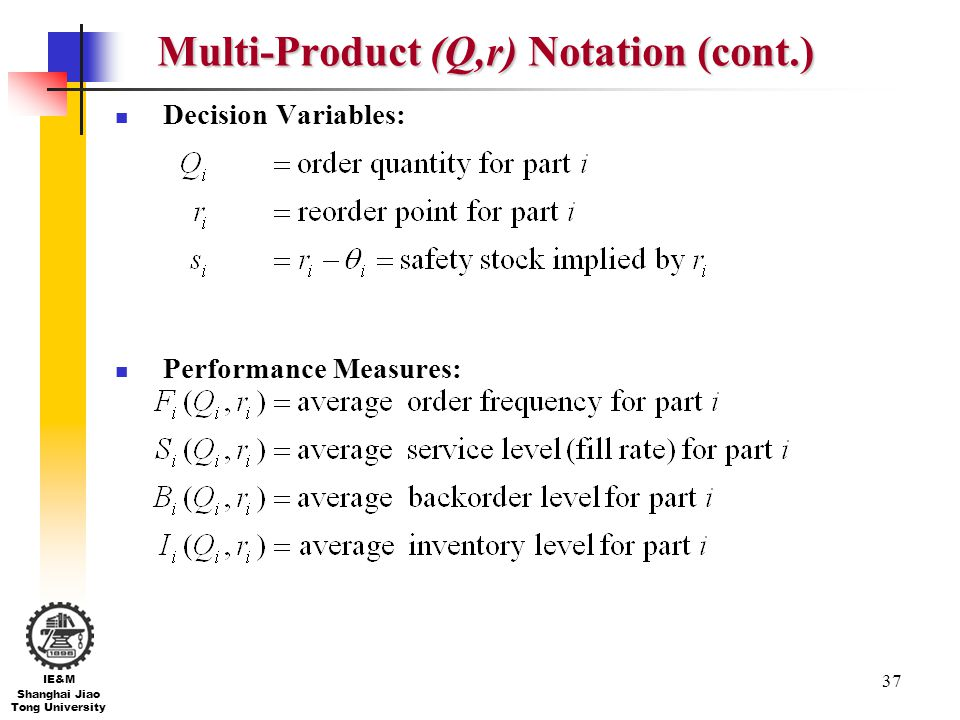 Multi-Product (Q,r) Notation (cont.)