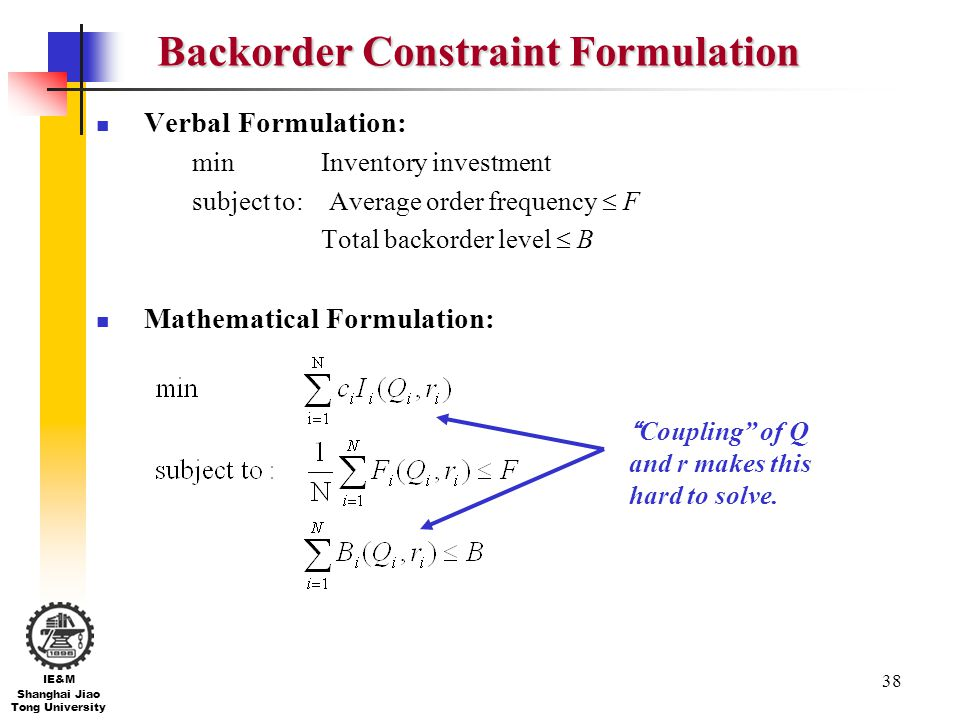 Backorder Constraint Formulation