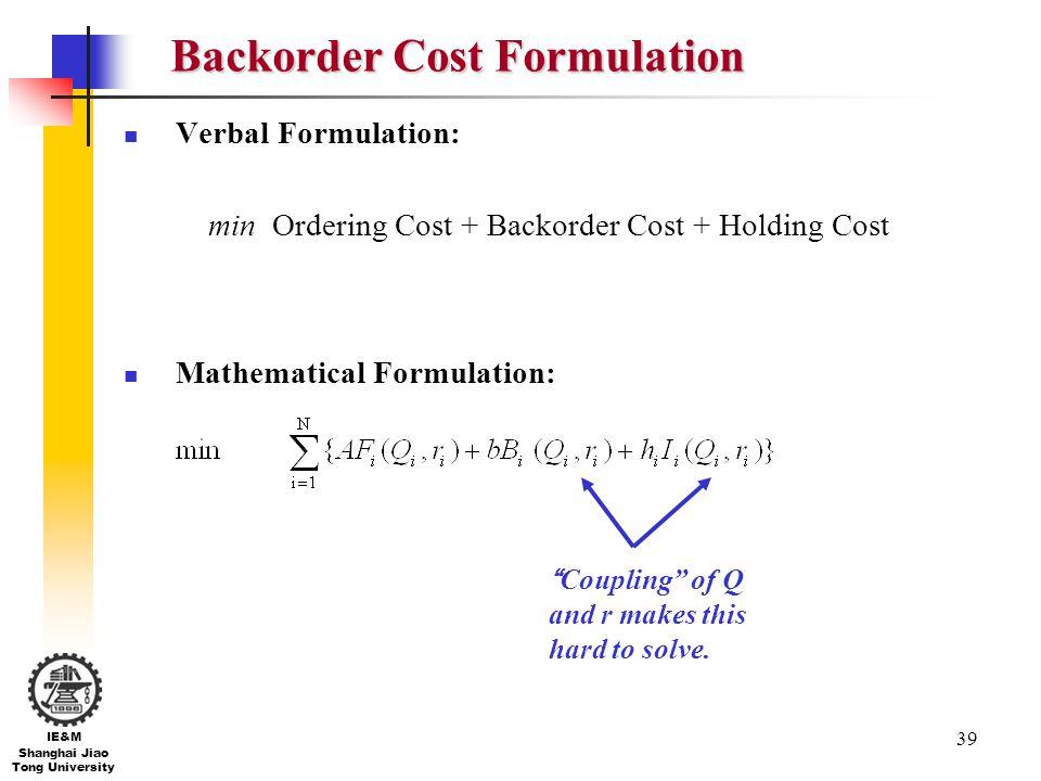 Backorder Cost Formulation