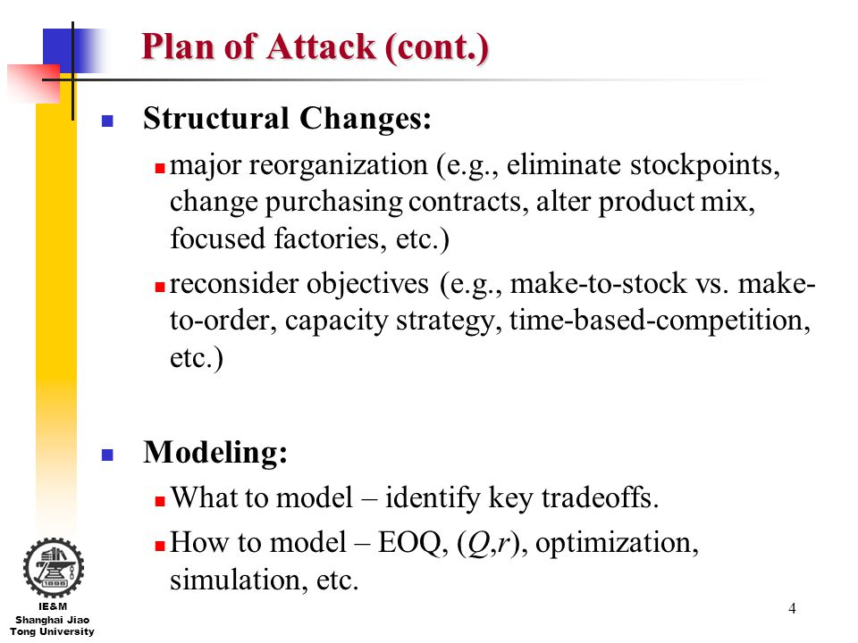 Plan of Attack (cont.) Structural Changes: Modeling: