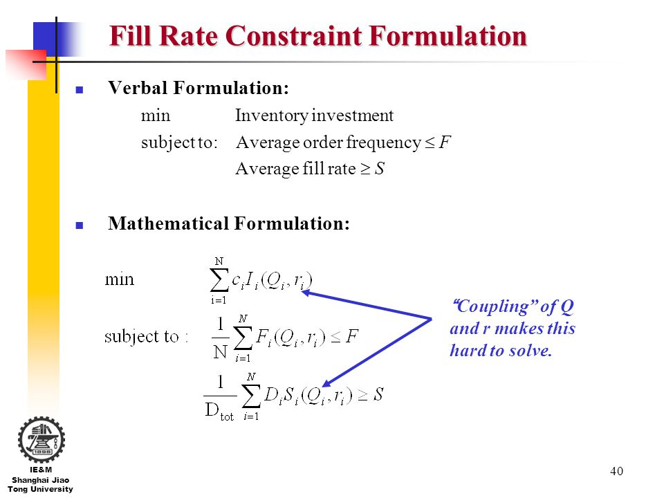 Fill Rate Constraint Formulation