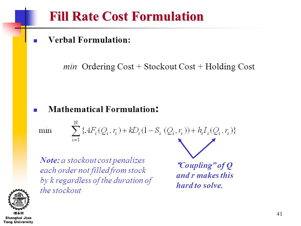 Fill Rate Cost Formulation