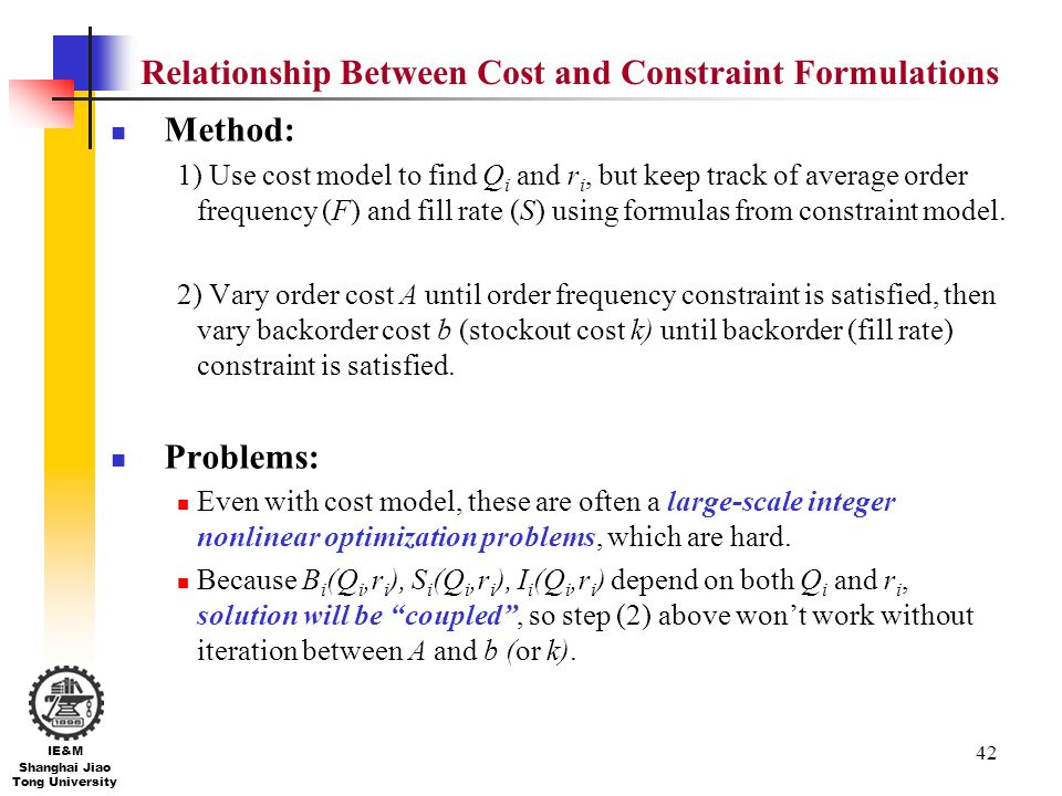 Relationship Between Cost and Constraint Formulations