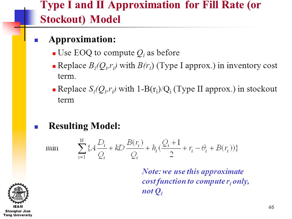 Type I and II Approximation for Fill Rate (or Stockout) Model