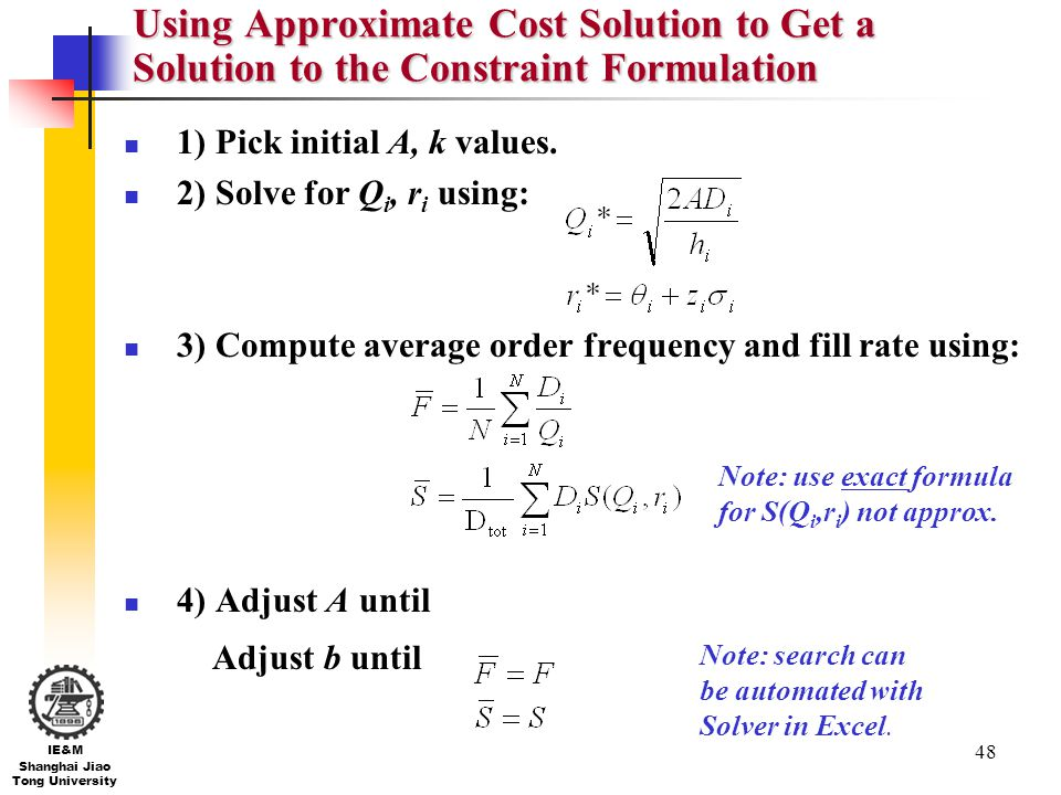 Using Approximate Cost Solution to Get a Solution to the Constraint Formulation