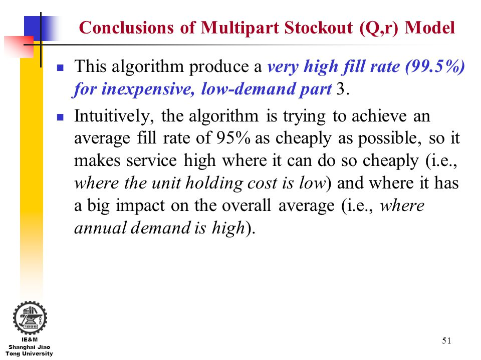 Conclusions of Multipart Stockout (Q,r) Model