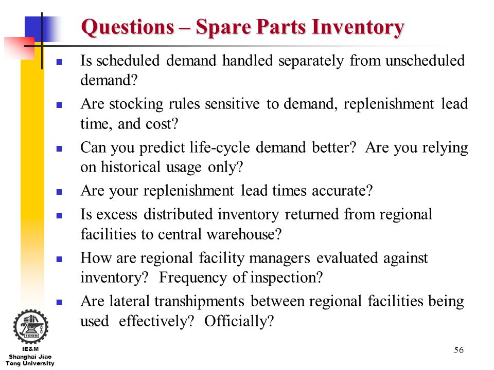 Questions – Spare Parts Inventory