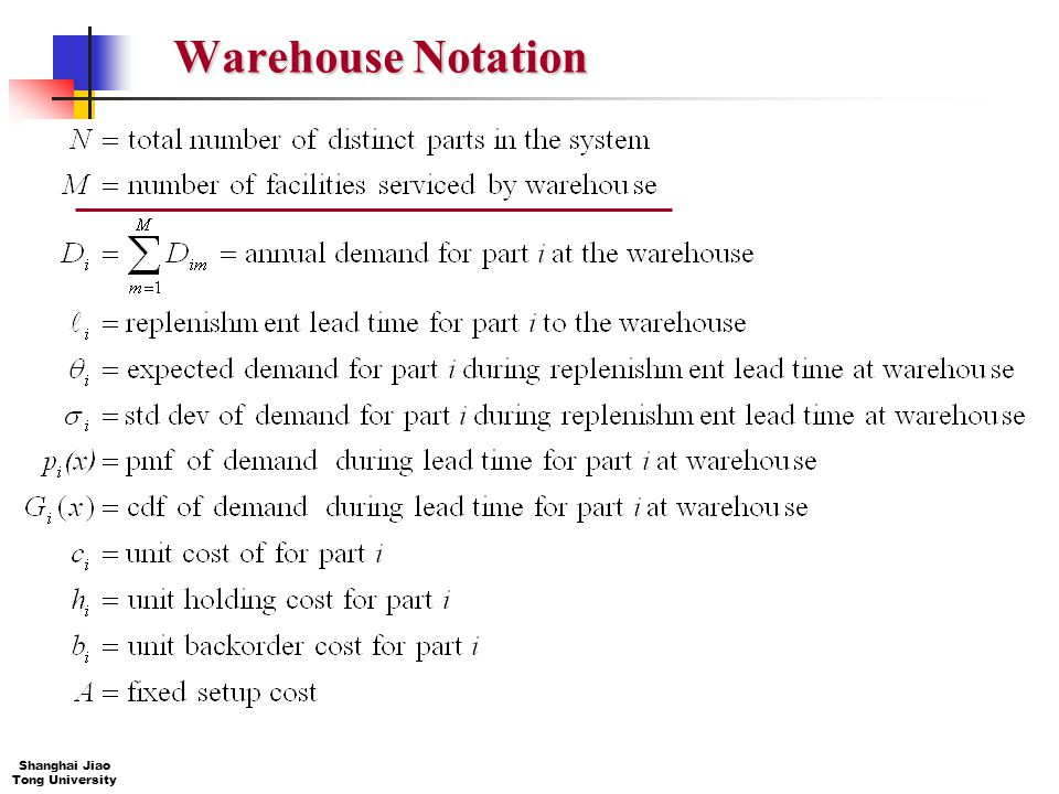 Warehouse Notation