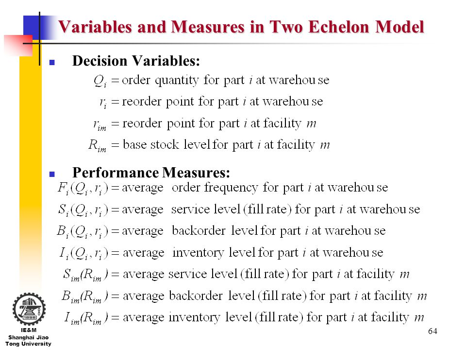 Variables and Measures in Two Echelon Model