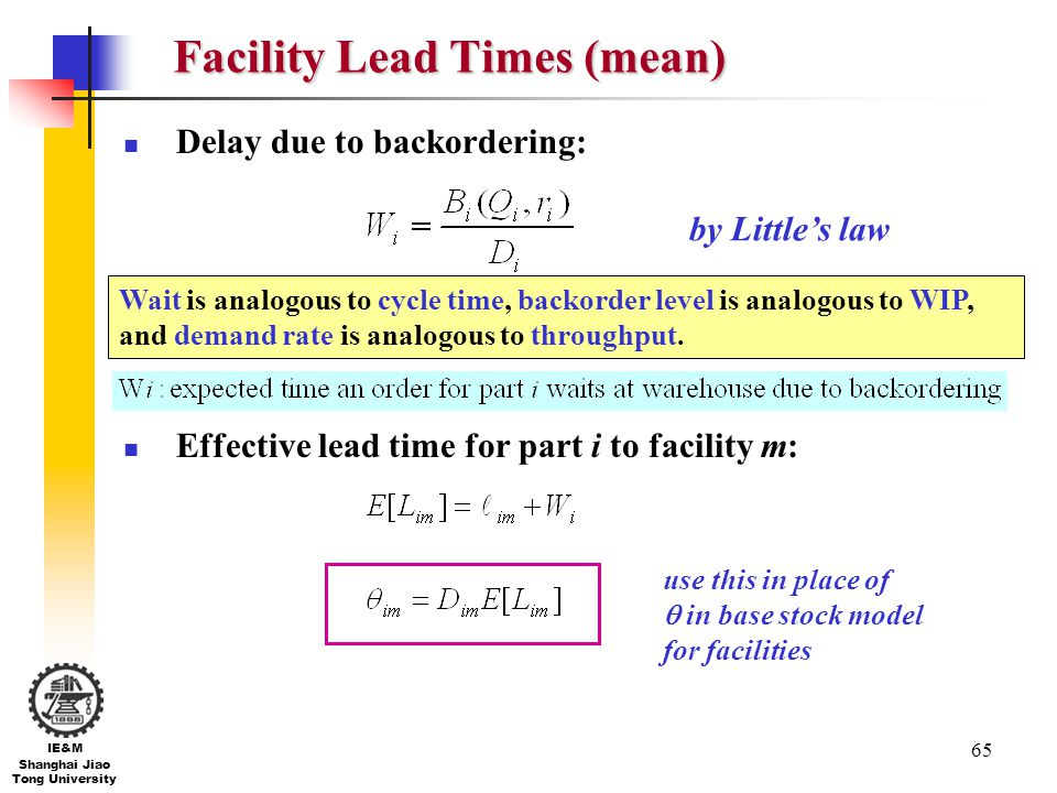 Facility Lead Times (mean)