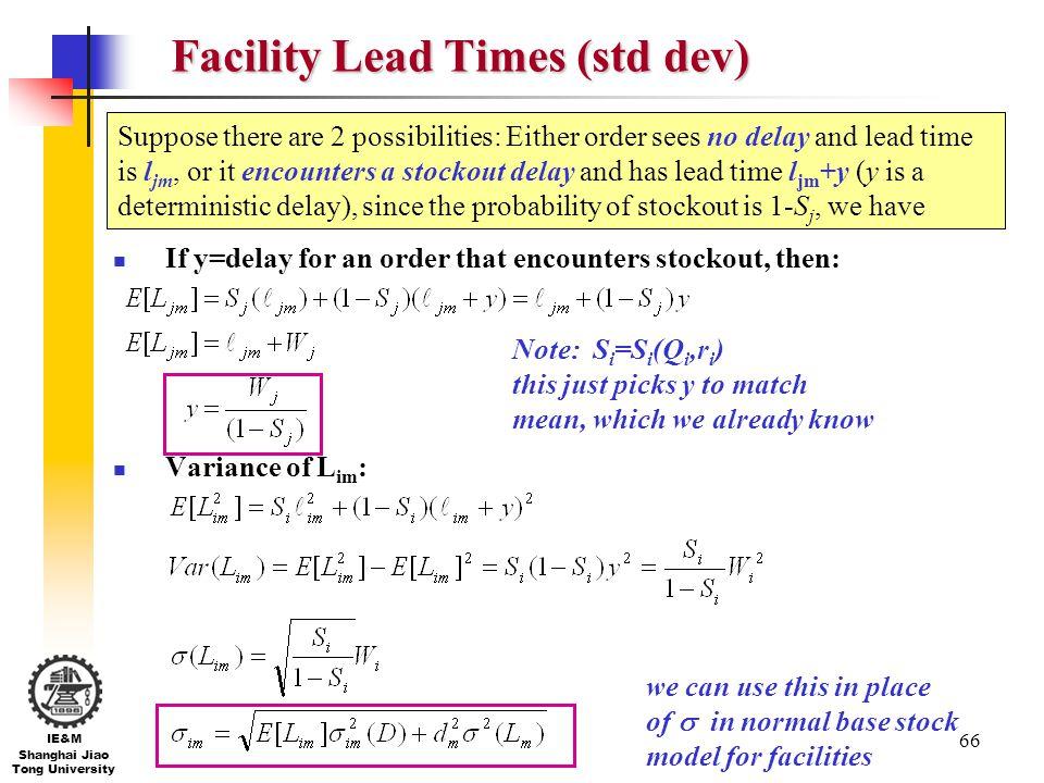 Facility Lead Times (std dev)