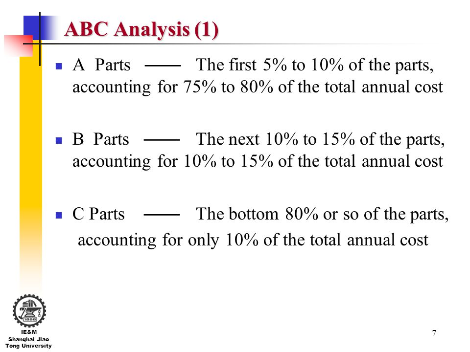 ABC Analysis (1) A Parts —— The first 5% to 10% of the parts, accounting for 75% to 80% of the total annual cost.