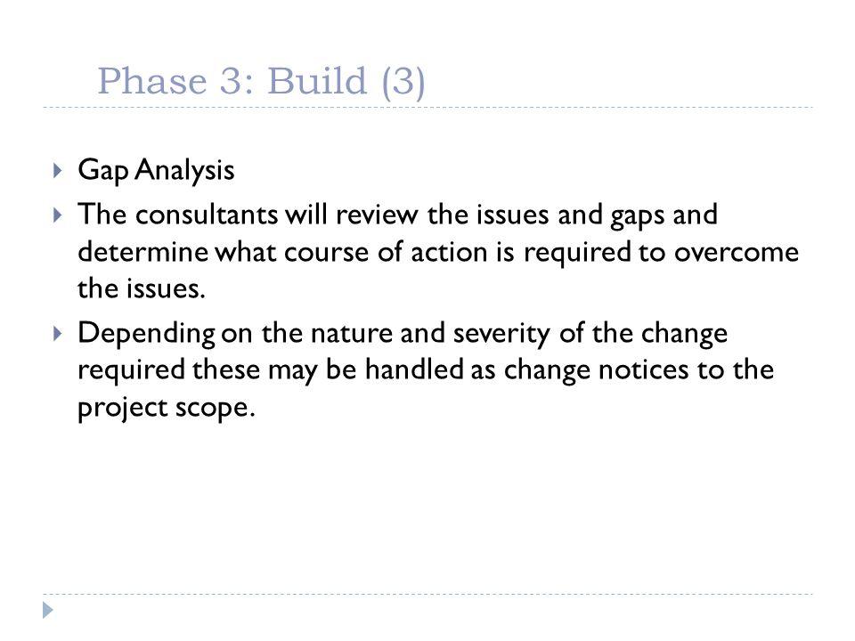 Phase 3: Build (3) Gap Analysis