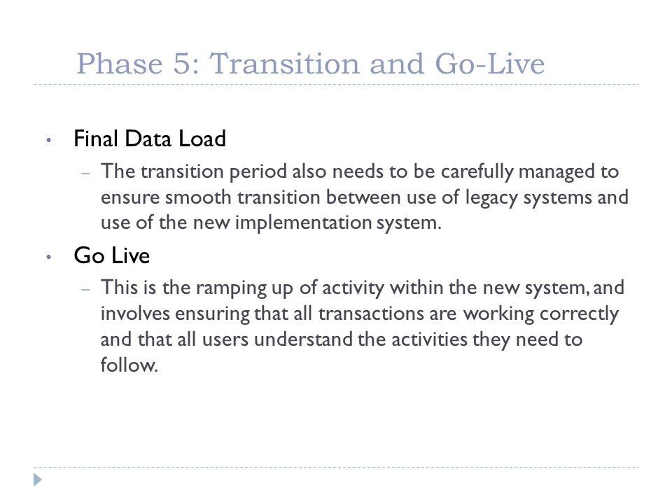 Phase 5: Transition and Go-Live