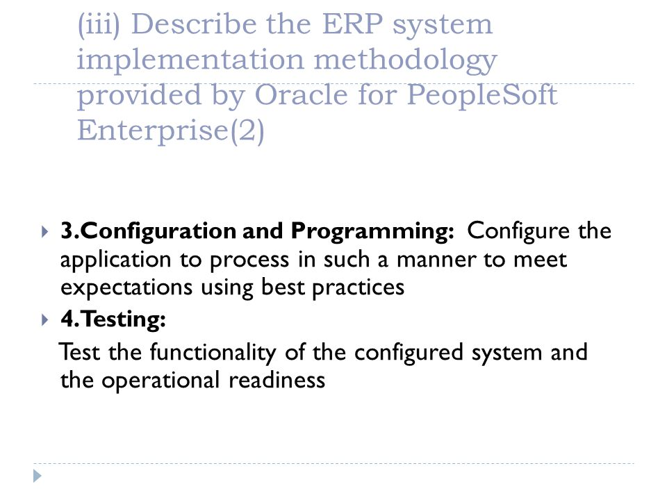 (iii) Describe the ERP system implementation methodology provided by Oracle for PeopleSoft Enterprise(2)